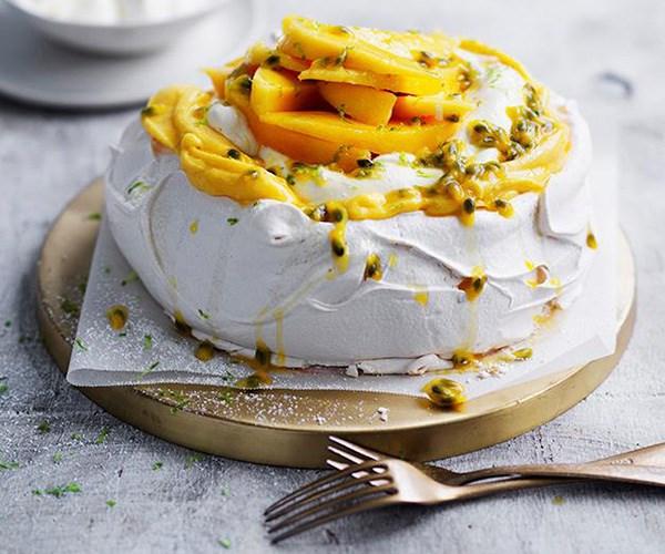 "**[Passionfruit and mango pavlova](https://www.gourmettraveller.com.au/recipes/browse-all/passionfruit-and-mango-pavlova-12947|target=""_blank"")**"