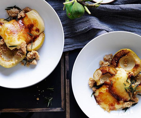 """**[Baked apples with burnt cream](https://www.gourmettraveller.com.au/recipes/chefs-recipes/baked-apples-with-burnt-cream-8038