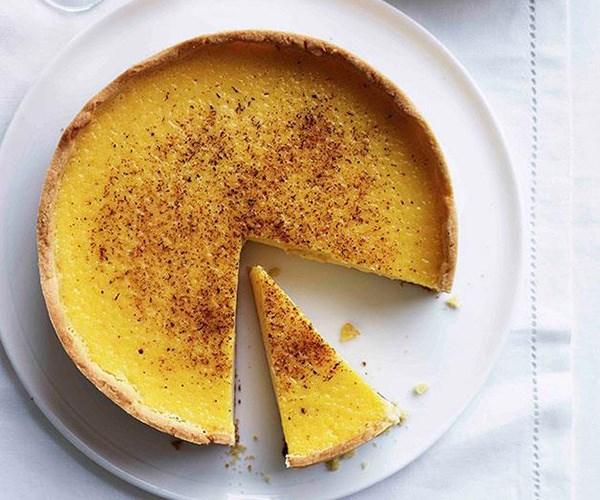 "**[Custard tart](https://www.gourmettraveller.com.au/recipes/chefs-recipes/custard-tart-7828|target=""_blank"")**"