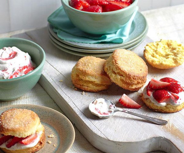 "**[Strawberry shortcake](https://www.gourmettraveller.com.au/recipes/browse-all/strawberry-shortcake-with-elderflower-cream-8723|target=""_blank"")**"