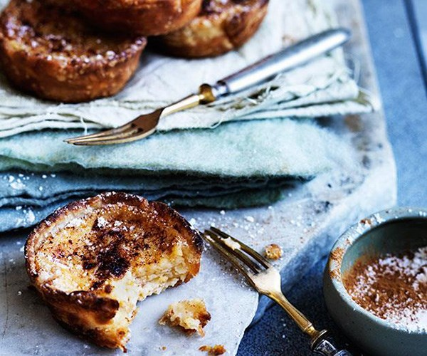 "**[Portuguese custard tarts](https://www.gourmettraveller.com.au/recipes/browse-all/portuguese-custard-tarts-12283|target=""_blank"")**"