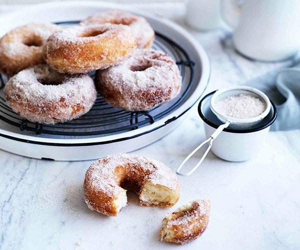 "**[Doughnuts](https://www.gourmettraveller.com.au/recipes/browse-all/cinnamon-sugar-doughnuts-8774|target=""_blank"")**"