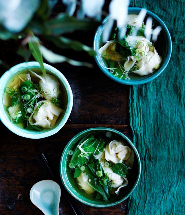 "[**Cantonese-style prawn wonton soup**](https://www.gourmettraveller.com.au/recipes/chefs-recipes/cantonese-style-prawn-wonton-soup-8612|target=""_blank""