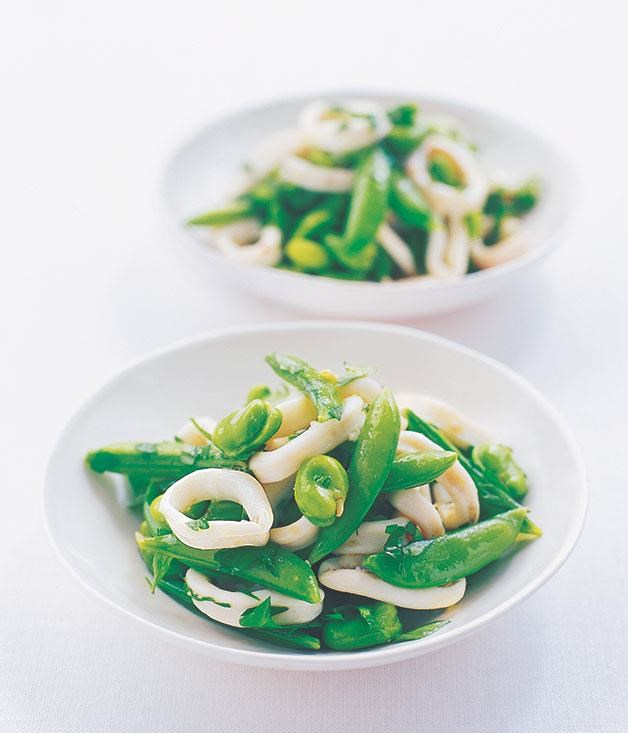"**[Squid and broad bean salad](https://www.gourmettraveller.com.au/recipes/fast-recipes/squid-and-broad-bean-salad-9553|target=""_blank"")**"
