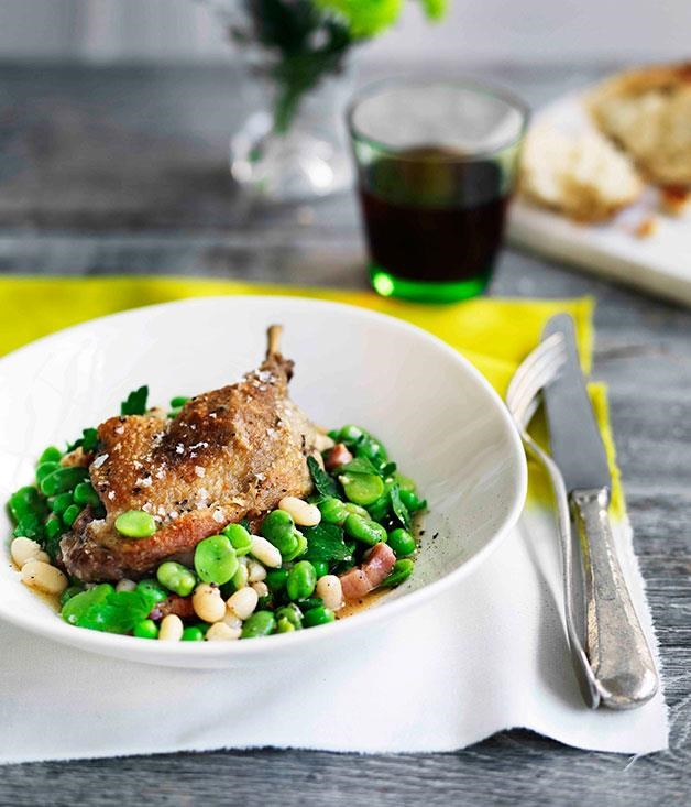 "**[Confit duck with white beans, speck and broad beans](https://www.gourmettraveller.com.au/recipes/chefs-recipes/confit-duck-with-white-beans-speck-and-broad-beans-9066|target=""_blank"")**"