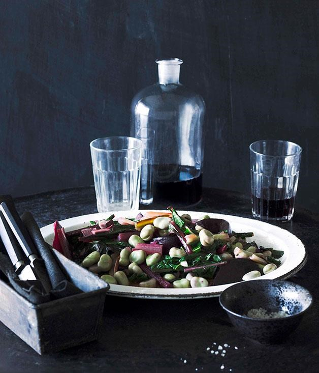 "**[Broad beans, raindbow chard and beetroot](https://www.gourmettraveller.com.au/recipes/browse-all/broad-beans-rainbow-chard-and-beetroot-10780|target=""_blank"")**"