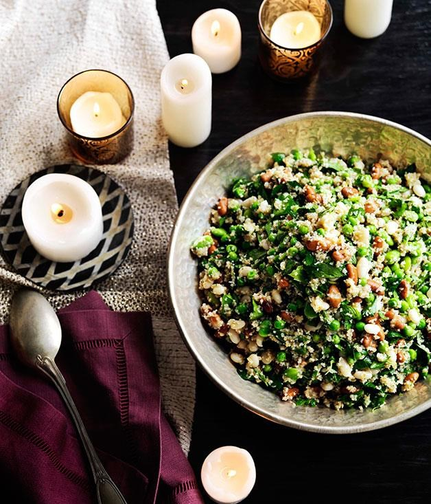 "**[Tabbouleh of spring beans, herbs and nuts](https://www.gourmettraveller.com.au/recipes/browse-all/tabbouleh-of-spring-beans-seeds-and-nuts-11526|target=""_blank"")**"