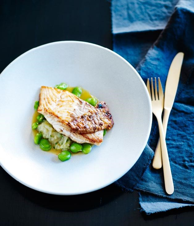 "**[Blue-eye trevalla with Jerusalem artichokes, broad beans and chicken jus](https://www.gourmettraveller.com.au/recipes/chefs-recipes/blue-eye-trevalla-with-jerusalem-artichokes-broad-beans-and-chicken-jus-8130|target=""_blank"")**"