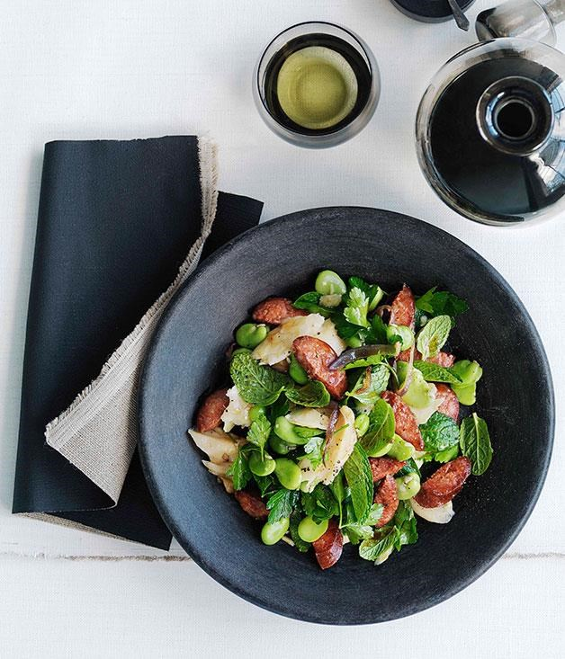 "**[Chorizo, salt cod and broad bean salad](https://www.gourmettraveller.com.au/recipes/browse-all/chorizo-salt-cod-and-broad-bean-salad-10392|target=""_blank"")**"