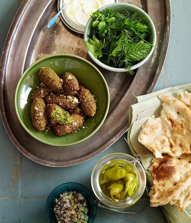 "**[Falafel](https://www.gourmettraveller.com.au/recipes/browse-all/falafel-8703|target=""_blank"")**"
