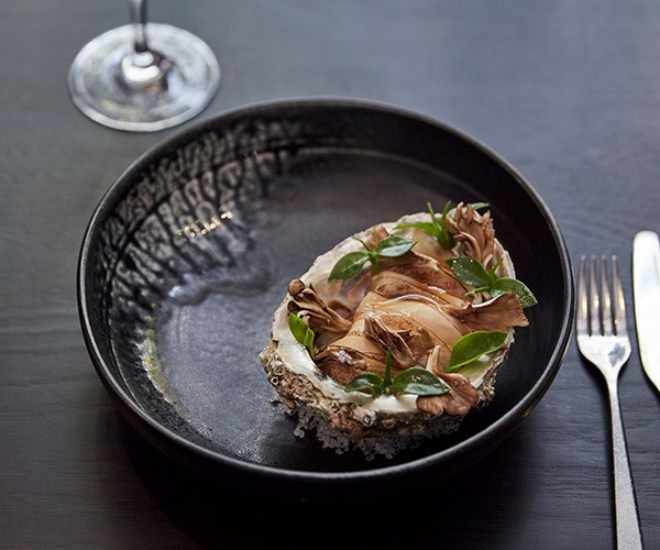 Blacklip abalone with hen-of-the-woods mushroom and roast-chicken mayonnaise