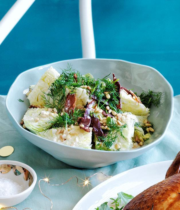 """**[Iceberg lettuce salad with bacon, pine nuts and buttermilk dressing](https://www.gourmettraveller.com.au/recipes/browse-all/iceberg-lettuce-salad-with-bacon-pine-nuts-and-buttermilk-dressing-12131