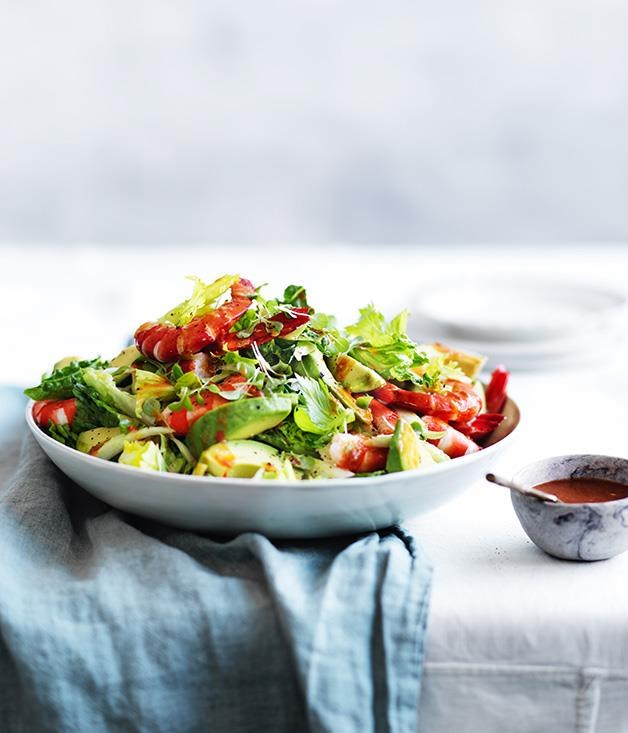 "**[Prawn and avocado salad with spiced tomato dressing](https://www.gourmettraveller.com.au/recipes/browse-all/prawn-and-avocado-salad-with-spiced-tomato-dressing-12952|target=""_blank"")**"