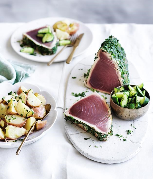 "**[Seared tuna with dill cucumbers and potato salad](https://www.gourmettraveller.com.au/recipes/browse-all/seared-tuna-with-dill-cucumbers-and-potato-salad-12931|target=""_blank"")**"