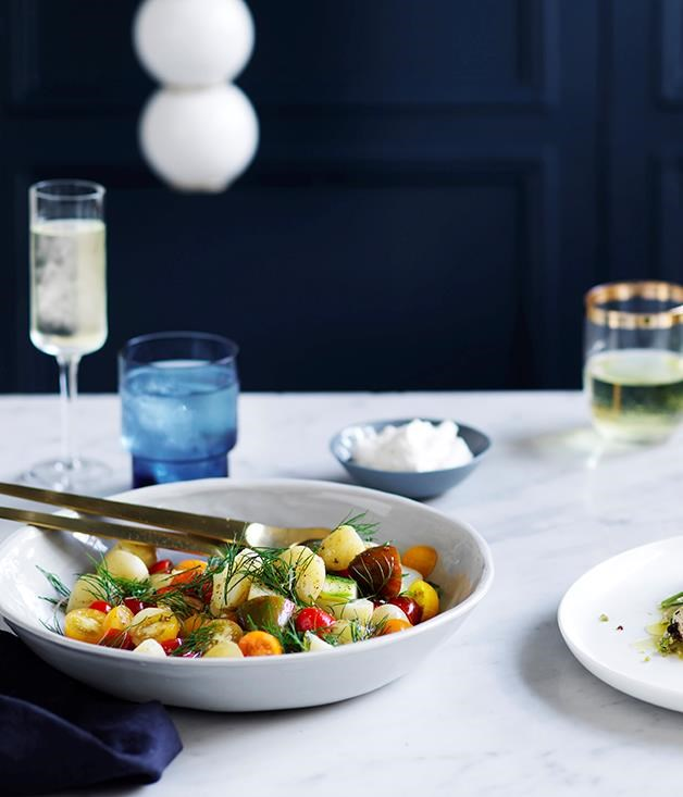 "**[Potato salad and horseradish cream](https://www.gourmettraveller.com.au/recipes/browse-all/potato-salad-and-horseradish-cream-12783|target=""_blank"")**"