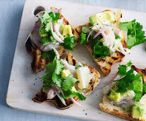 Ceviche toasts with avocado and coriander (photography: Dean Wilmot)