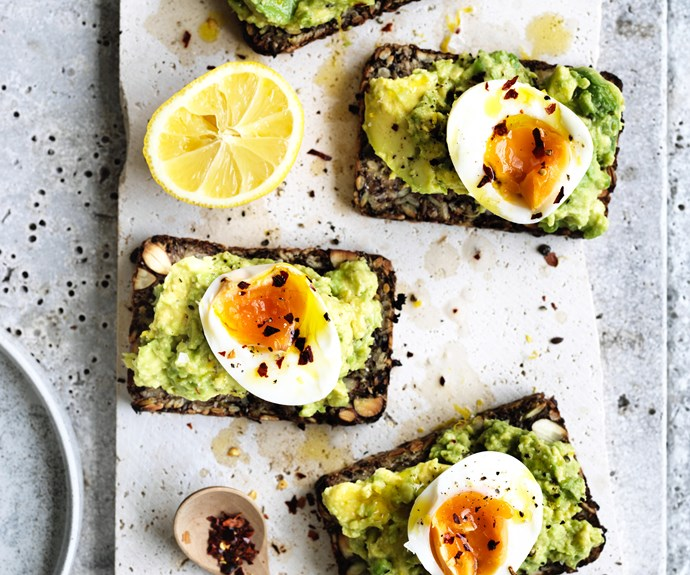 Avocado on seeded toast with soft-boiled egg (photography: William Meppem)