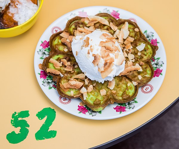 Pandan waffle with coconut soft-serve