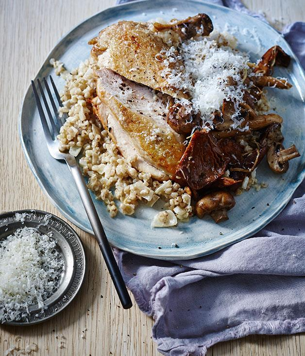 **[Chicken with buckwheat and mushroom risotto](https://www.gourmettraveller.com.au/recipes/fast-recipes/chicken-with-buckwheat-and-mushroom-risotto-13592)**