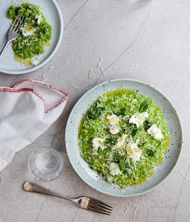 **[Pea risotto with buffalo mozzarella and spring herbs](https://www.gourmettraveller.com.au/recipes/chefs-recipes/pea-risotto-with-buffalo-mozzarella-and-spring-herbs-9328)**