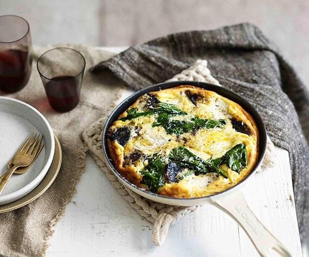 "**[Mushroom and goat's curd frittata](https://www.gourmettraveller.com.au/recipes/fast-recipes/mushroom-and-goats-curd-frittata-13505|target=""_blank"")**"