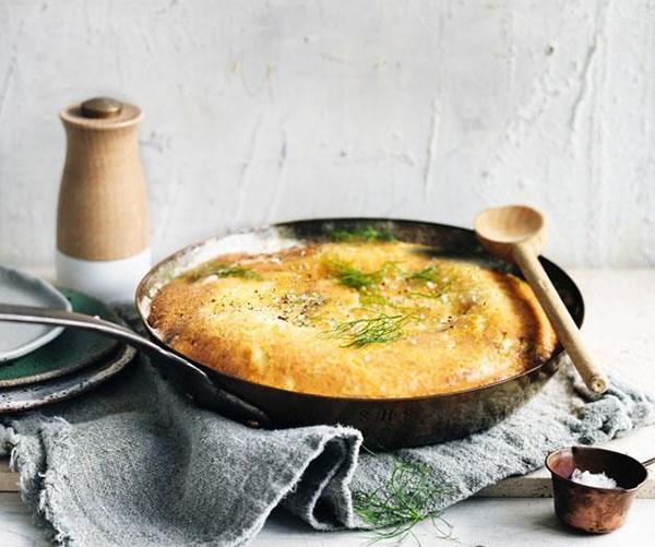 "**[Parmesan, brown butter, leek and fennel frittata](https://www.gourmettraveller.com.au/recipes/browse-all/parmesan-brown-butter-fennel-and-leek-frittata-12822|target=""_blank"")**"