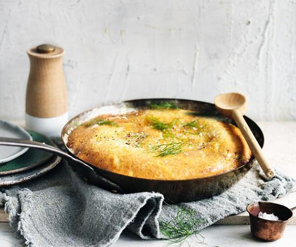 "**[Parmesan, brown butter, leek and fennel frittata](https://www.gourmettraveller.com.au/recipes/browse-all/parmesan-brown-butter-fennel-and-leek-frittata-12822|target=""_blank"")**"
