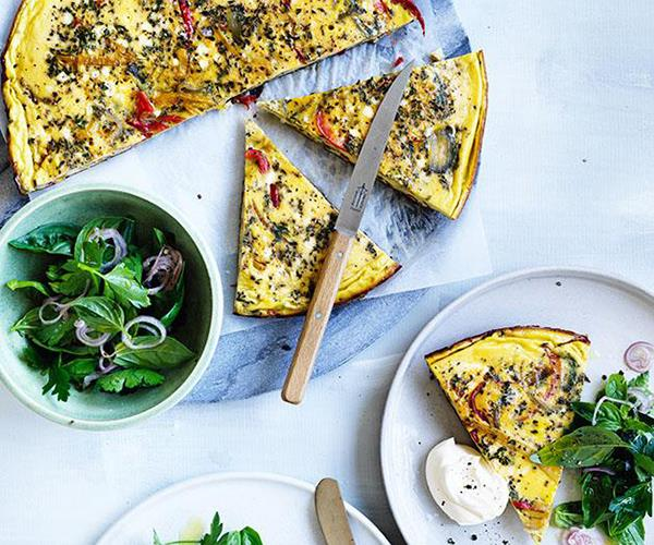 "**[Piperade frittata with shallot and herb salad](https://www.gourmettraveller.com.au/recipes/fast-recipes/piperade-frittata-with-shallot-and-herb-salad-13882|target=""_blank"")**"