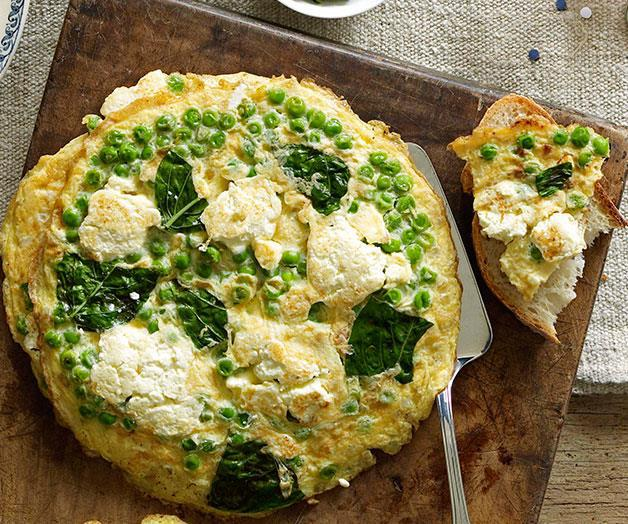 "**[Ricotta and pea frittatas](https://www.gourmettraveller.com.au/recipes/chefs-recipes/ricotta-and-pea-frittatas-7180|target=""_blank"")**"