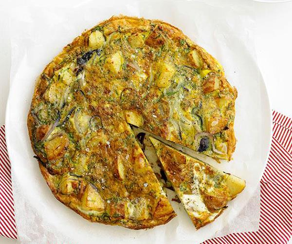"**[Potato and herb tortilla](https://www.gourmettraveller.com.au/recipes/fast-recipes/potato-and-herb-tortilla-12978|target=""_blank"")**"