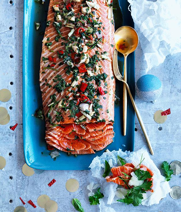 """**[Asian-style cured trout with rice paper crackers](https://www.gourmettraveller.com.au/recipes/browse-all/asian-style-cured-trout-with-rice-paper-crackers-12650