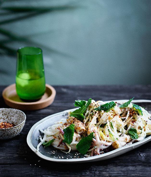 "**[Jicama and green mango salad with grilled calamari](https://www.gourmettraveller.com.au/recipes/browse-all/jicama-and-green-mango-salad-with-grilled-calamari-12679|target=""_blank"")**"