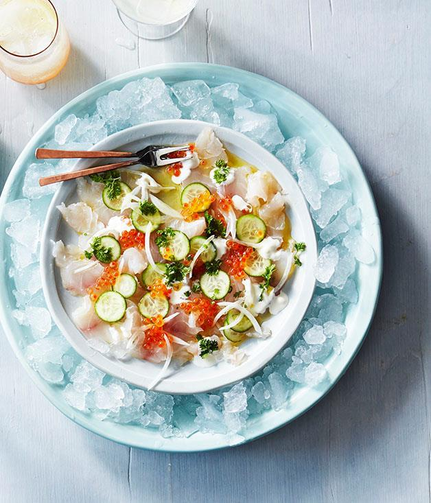 "**[Snapper crudo with roe and cucumber](https://www.gourmettraveller.com.au/recipes/browse-all/snapper-crudo-with-roe-and-cucumber-12935|target=""_blank"")**"