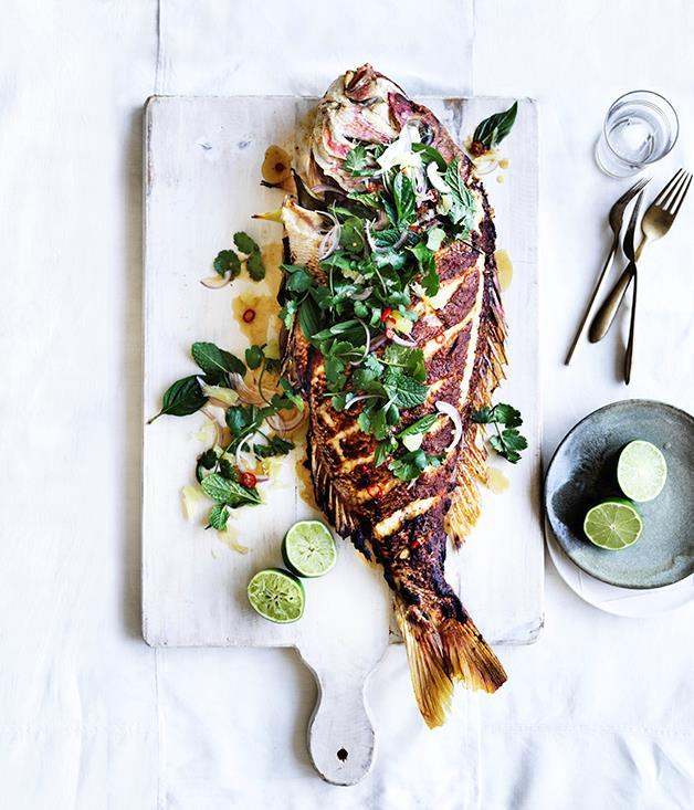 """**[Barbecued lemongrass snapper with pomelo and herb salad](https://www.gourmettraveller.com.au/recipes/browse-all/barbecued-lemongrass-snapper-with-pomelo-and-herb-salad-12943