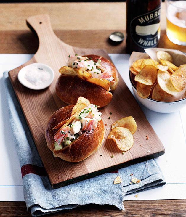"""[**Lobster rolls with potato chips**](https://www.gourmettraveller.com.au/recipes/browse-all/lobster-rolls-with-potato-chips-10953