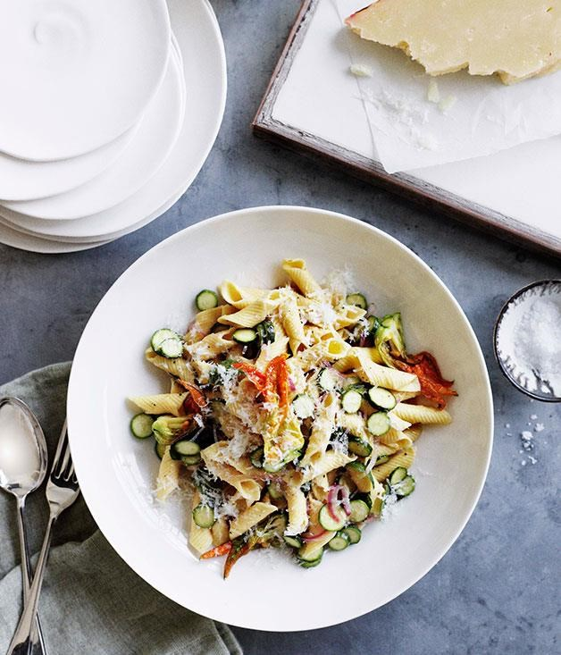 "**[Zucchini flower, mint and pecorino penne](https://www.gourmettraveller.com.au/recipes/browse-all/zucchini-flower-mint-and-pecorino-penne-11095|target=""_blank"")**"