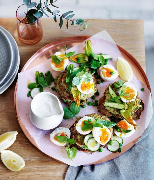 "[**Pea, zucchini and mint fritters with eggs and feta sauce**](https://www.gourmettraveller.com.au/recipes/browse-all/pea-zucchini-and-mint-fritters-with-eggs-and-feta-sauce-12462|target=""_blank"")"