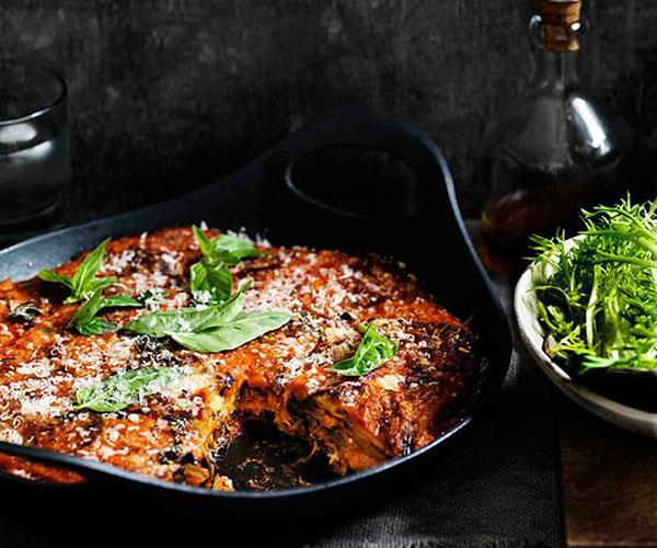 "[**Eggplant parmigiana**](https://www.gourmettraveller.com.au/recipes/browse-all/eggplant-parmigiana-11486|target=""_blank"")"