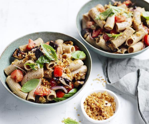 "[**Roast eggplant, tomato and basil spelt pasta**](https://www.gourmettraveller.com.au/recipes/healthy-recipes/roast-eggplant-tomato-and-basil-spelt-pasta-15680|target=""_blank"")"