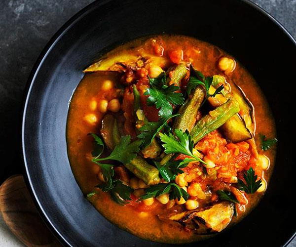 "[**Quick okra, eggplant and turmeric stew**](https://www.gourmettraveller.com.au/recipes/browse-all/quick-okra-eggplant-and-turmeric-stew-12706|target=""_blank"")"