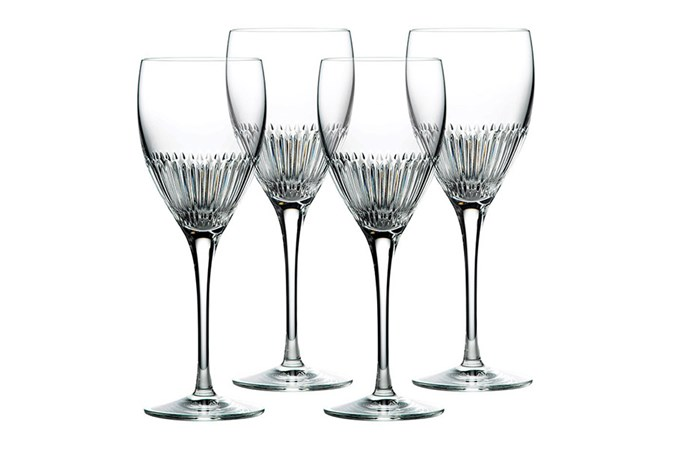 "**Royal Doulton Calla Crystal Goblet Set:** Perfectly weighted, this fine set is sure to enhance any drinking experience. Delicate and refined, the contemporary design is inspired by the softly pointed petals of the calla lily. For added sentiment, why not engrave each glass? <br><br> $199 for four, [Royal Doulton](https://www.royaldoulton.com.au/royal-doulton-calla-crystal-goblet-set-of-4.html|target=""_blank""