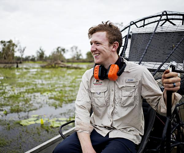 Guide Sam French takes the airboat fishing