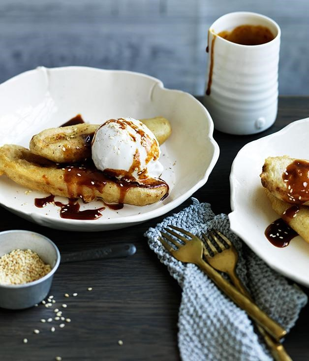 "**[Banana and coconut caramel fritters](https://www.gourmettraveller.com.au/recipes/browse-all/banana-and-coconut-caramel-fritters-12558|target=""_blank"")**"