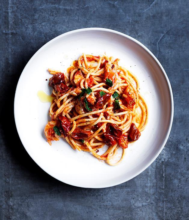 "**[Bucatini with prawn fra diavolo](https://www.gourmettraveller.com.au/recipes/browse-all/bucatini-with-prawn-fra-diavolo-12881 |target=""_blank"")**"