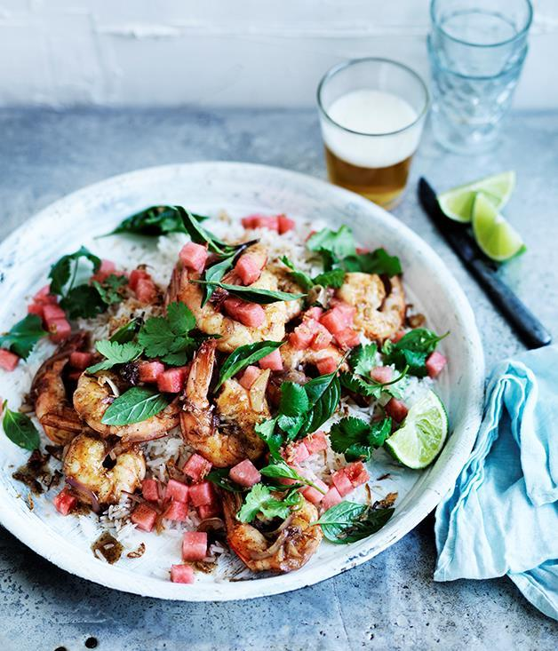 "**[Grilled prawns with tamarind, coconut rice and watermelon](https://www.gourmettraveller.com.au/recipes/fast-recipes/grilled-prawns-with-tamarind-coconut-rice-and-watermelon-13776|target=""_blank"")**"