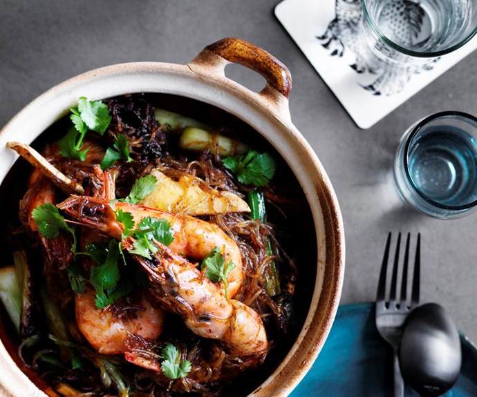 "**[David Thompson's prawns baked with vermicelli](https://www.gourmettraveller.com.au/recipes/chefs-recipes/david-thompsons-prawns-baked-with-vermicelli-8490|target=""_blank"")**"