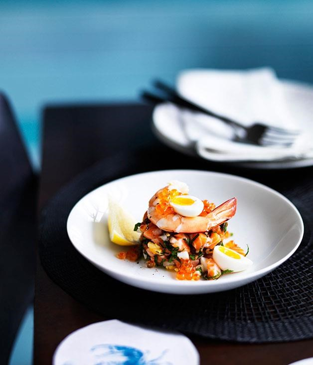 "**[Salmon tartare with prawns](https://www.gourmettraveller.com.au/recipes/chefs-recipes/salmon-tartare-with-prawns-8141|target=""_blank"")**"