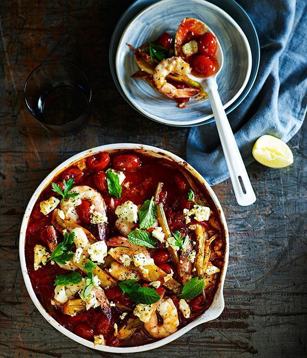"**[Tomato-baked prawns and feta](https://www.gourmettraveller.com.au/recipes/fast-recipes/tomato-baked-prawns-and-feta-13482|target=""_blank"")**"