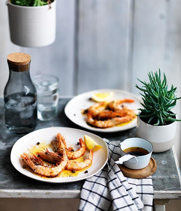 "**[Barbecued prawns with brown butter and tamari](https://www.gourmettraveller.com.au/recipes/chefs-recipes/barbecued-prawns-with-brown-butter-and-tamari-9249|target=""_blank"")**"