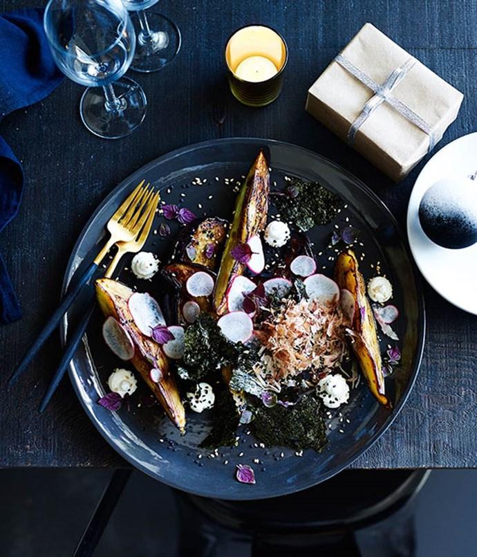 "[**Eggplant, goat's curd, katsuboshi and sesame**](https://www.gourmettraveller.com.au/recipes/chefs-recipes/eggplant-goats-curd-katsuobushi-and-sesame-9194|target=""_blank"")"